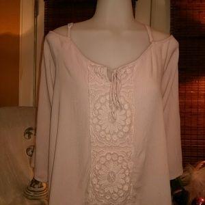 Ny&c light peachy coral blouse
